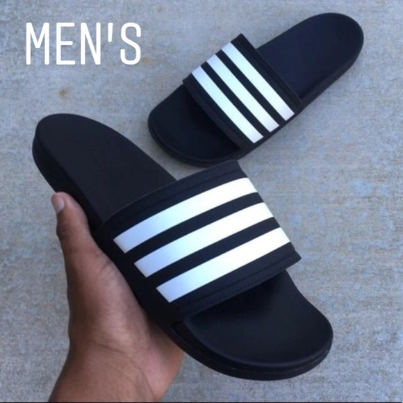 35233f625 MENS BLK ADIDAS ADILETTE CLOUDFOAM STRIPES SLIDE